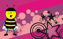 Funny bee expression catroon background Stock Photos