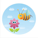 Funny bee with flower Stock Photos