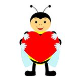 Funny bee with heart on a white background Stock Photo
