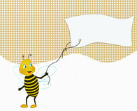 Funny bee holding advertisement paper Royalty Free Stock Photo