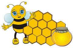 Funny bee with honey and cell Stock Image