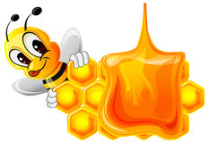 Funny bee and honeycomb Stock Images