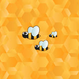 Funny bee icon and honeycomb pattern Royalty Free Stock Photography