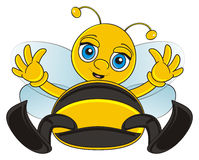 Funny bee lying Stock Images