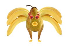Funny bee made from bananas and pears Royalty Free Stock Image