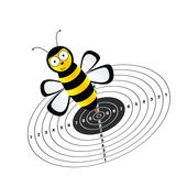 Funny bee and target vector illustration Royalty Free Stock Image