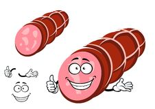 Funny beef sausage character with thumb up Royalty Free Stock Image