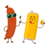 Funny beer can and frankfurter sausage characters having fun together. Cartoon vector illustration isolated on white background. Funny smiling beer can Stock Photos