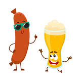 Funny beer glass and frankfurter sausage characters having fun together. Cartoon vector illustration isolated on white background. Funny smiling beer glass Royalty Free Stock Photos