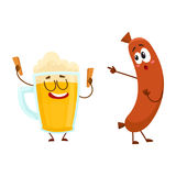 Funny beer glass and frankfurter sausage characters having fun together. Cartoon vector illustration isolated on white background. Funny smiling beer glass Royalty Free Stock Photography