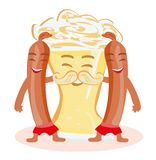Funny beer glass and frankfurters sausages characters having fun together. Vector Illustration vector illustration