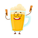 Funny beer mug character with smiling human face holding croutons Royalty Free Stock Image