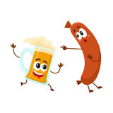 Funny beer mug and frankfurter sausage characters having fun together. Cartoon vector illustration isolated on white background. Funny smiling beer mug Stock Photos