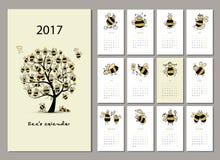 Funny bees calendar 2017 design Stock Photography