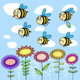 Funny bees flying over flowers. Family fun cartoon bees flying on multi-colored flowers on a background of blue sky with clouds vector illustration