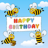 Funny Bees Happy Birthday. Funny bees flying in the sky with happy birthday banner. Eps file available vector illustration