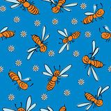Funny  bees seamless Royalty Free Stock Photography