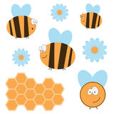 Funny Bees Set. Funny fat bees, honeycomb and flowers Stock Images