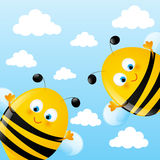 Funny bees. On sky background stock illustration