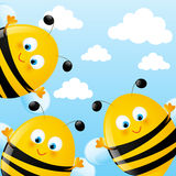Funny bees. On sky background royalty free illustration