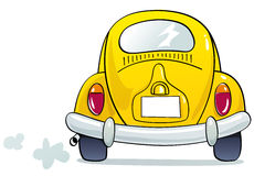 Funny beetle. Funny yellow beetle car illustration Stock Photography