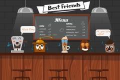 Funny Best Friends Of Barista vector illustration
