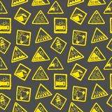 Funny bicycle road signs pattern. Vector isolated funny doodle road signs for bicycle pattern. Seamless background Royalty Free Stock Photography