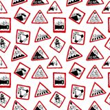 Funny bicycle road signs pattern Royalty Free Stock Photography