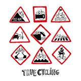 Funny bicycle road signs. Vector isolated funny doodle road signs for bicycle Stock Image