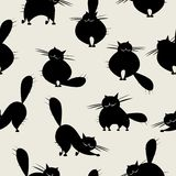 Funny big cats, seamless pattern for your design Royalty Free Stock Photos