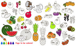 Funny big fruit set cartoon. Page to be colored. Royalty Free Stock Image