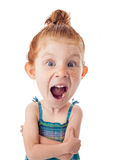 Funny Big Head Child. On white background Royalty Free Stock Photo