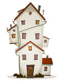 Funny Big House. Illustration of a cartoon high big funny house, castle or manor, with lots of windows and outbuilding Royalty Free Stock Photography