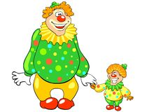 Funny big and little clown. Stock Images