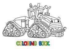 Funny big tractor with eyes. Coloring book. Tractor coloring book for kids. Small funny vector cute car with eyes and mouth. Children vector illustration Royalty Free Stock Photography