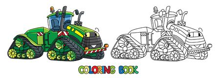 Funny big tractor with eyes. Coloring book. Tractor coloring book for kids. Small funny vector cute car with eyes and mouth. Children vector illustration Royalty Free Stock Photos