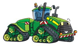 Funny big tractor with eyes. Tractor. Funny vector cute car with eyes and mouth. Children vector illustration. Agricultural machinery for kids Royalty Free Stock Image