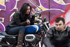 Funny Bikers Couple Stock Photography