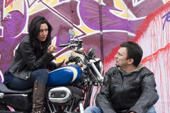 Funny Bikers Couple Royalty Free Stock Image