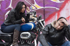 Funny Bikers Couple Stock Photos