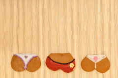 Funny bikini panties shape gingerbread cookies Stock Image