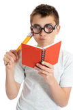 Funny bioy in geeky glasses Royalty Free Stock Photo