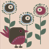 Funny bird. Funny stylized bird with flowers - vector illustration stock illustration