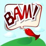 Funny bird. With speech and onomatopoeia Stock Photos