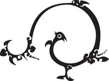 Funny bird. Vector chinese traditional paper cut royalty free illustration