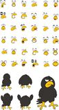 Funny crow cartoon expressions set Royalty Free Stock Photos