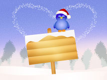 Funny bird with Christmas hat Stock Photography