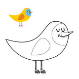 Funny bird coloring book. comical fowl in linear style.  Vector Illustration