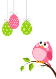 Funny bird with Easter eggs Stock Photos
