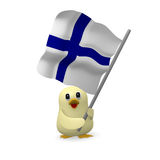Funny bird with flag of Finland Royalty Free Stock Images